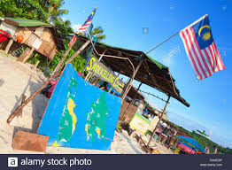 Long Beach Map Flag And Snorkeling Map On Long Beach Perhentian Islands Stock