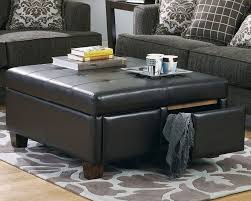 Blue Ottoman Coffee Table Ottoman Appealing Black Square Traditional Style Leather Tufted