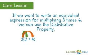 write equivalent expressions using the distributive property of