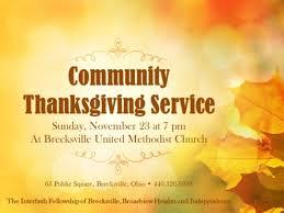 community thanksgiving worship service november 23 at brecksville