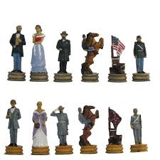 Metal Chess Set by Civil War Hand Painted Polystone Chess Pieces