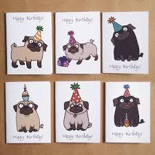 pug birthday mini notecard set 6 pack