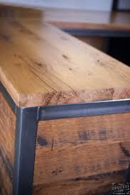 Wood Reception Desk Reclaimed Wood Steel Reception Desk Real Industrial Edge