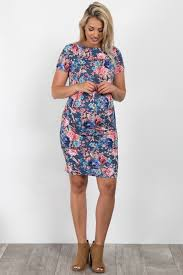 Fitted Maternity Dresses Blue Floral Print Fitted Maternity Dress