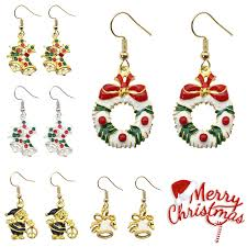 christmas earrings trendy christmas earrings santa claus bells wreath drop earrings