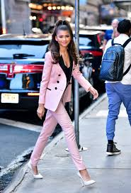 zendaya stuns in a pastel suit instyle com