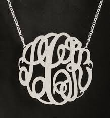 monogram necklace sterling silver big slim sterling silver monogram necklace 1 5 8 inch