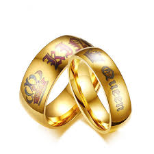 king gold rings images Designer king queen punk stainless steel ring gold plated couple jpg