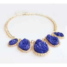blue bib necklace images Cobalt mojova geode druzy stone bib necklace jpg
