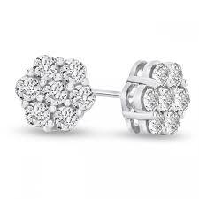 diamond cluster earrings 1 2 carat simulated diamond cluster earrings fakurma uk