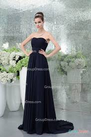 simple dark navy ruched detail long chiffon strapless sweetheart