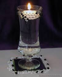 black and white centerpieces white floating candle centerpiece