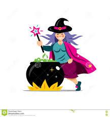 vector halloween witch and cauldron cartoon illustration stock