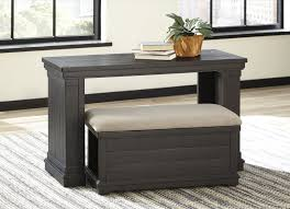 ashley furniture chair and ottoman ashley furniture sharlowe charcoal finish sofa table with nesting