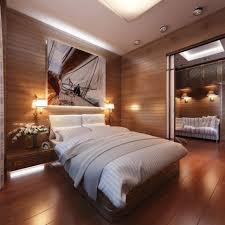 bedroom design warm lamp interior wooden bed frame on the wooden