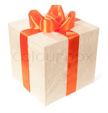 bow wrapping paper gift box in wrapping paper with a big bow of orange ribbon on