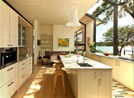 kitchen white and wood kitchen cabinet with 2 tiered island