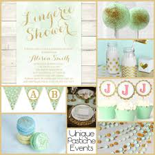 unique bridal shower ideas shower in mint and gold unique pastiche events