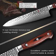 damascus steel kitchen knives amazon com xinzuo 8 inches damascus chef knife stainless steel