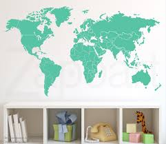 world map wall decal with countries borders zoom