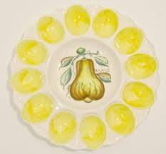 vintage deviled egg platter vintage rooster ceramic deviled egg plate handpainted oval platter