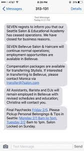 posh seattle hair salon terminates staff via weekend text message