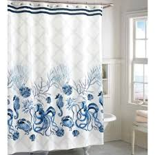 Sea Shell Curtains Stylish Design White And Blue Shower Curtain Sumptuous Ideas Buy