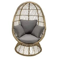 siege oeuf fauteuil oeuf de jardin en résine tressée et coussin gris maisons