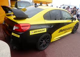 subaru yellow file the rearview of subaru wrx sti vab as a demo car of dunlop