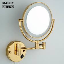 bathroom makeup mirror wall mount led gold brass cosmetic mirror wall mounted bathroom beauty mirror