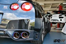 nissan gtr exhaust tips 2012 black nissan gt r35 with ipe exhaust system 90mm pipe