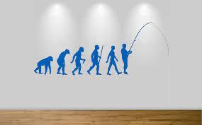 fishing evolution wall sticker decal bedroom wall art fly fish ape