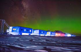 The Southern Lights Halley Vi On The Brunt Ice Shelf Antarctica During The Southern