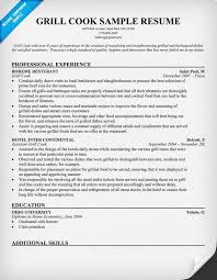 Resume Sample For Cook by Grill Cook Position Resume Template Vinodomia