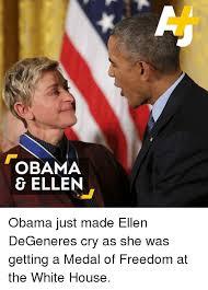 Ellen Degeneres Meme - obama ellen obama just made ellen degeneres cry as she was getting