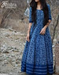 indigo muse floor length indigo maxi dress in bagru printed