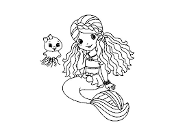 mermaid and jellyfish coloring page coloringcrew com
