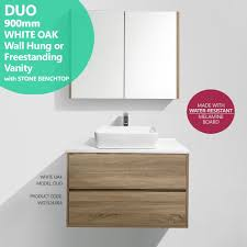 Bathroom Vanity 900mm by Duo 900mm White Oak Timber Wood Grain Bathroom Vanity With Stone