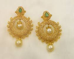 gold earrings studs indian pearl and diamond ear stud models
