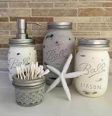 Mason Jar Bathroom Decor 4 Piece Distressed Mason Jar Bathroom Set Coastal Essentials Home