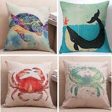 online get cheap sea turtle decorations aliexpress com alibaba cushion covers sea turtle red green crab dolphin throw pillow cases bedroom sofa home car decor
