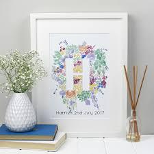 personal name print floral alphabet letter zoeprose monogram personalised floral alphabet wall art wedding personalised name print