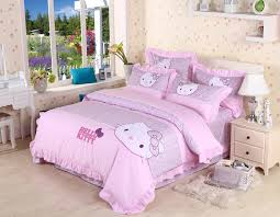 pink color kitty print bedding queen size comforter