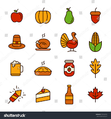 thanksgiving day icon line pack stock vector 701594725