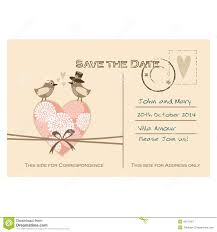 Wedding Cards Invitation Cute Wedding Card Invitation With Floral Heart And Birds Stock