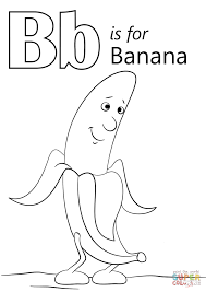 letter b is for banana coloring page free printable coloring pages