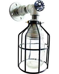 industrial pipe light fixture summer savings on mason jar with cage wall sconce industrial pipe