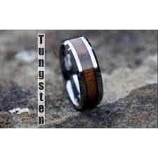 wood mens wedding bands genuine koa wood inlay mens tungsten carbide