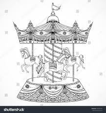 vintage carousel hand drawn vector illustration stock vector