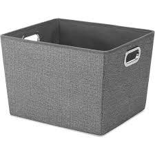 engaging image of large rectangular grey fabric storage bin